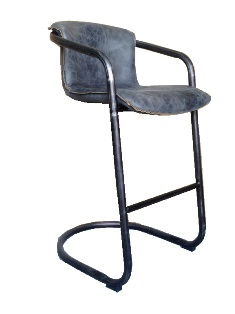 Aberdeen Stool In Full Grain Antique Ebony Leather with Matt Iron Frame (Available In 26`` and 30``)