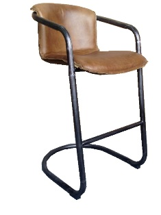 Aberdeen Stool In Full Grain Whiskey Leather with Matt Iron Frame (Available In 26`` and 30``)