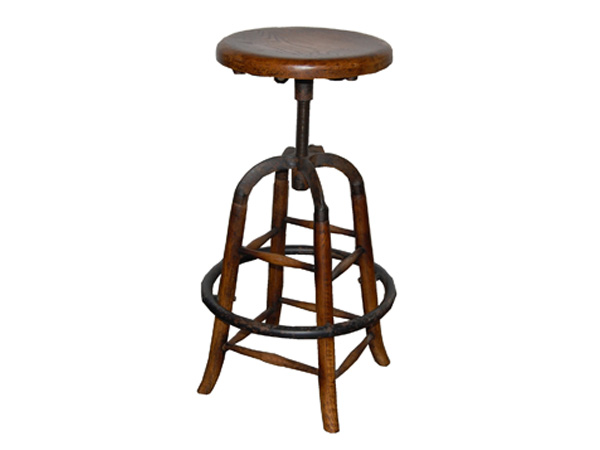 Belfast Adjustable Stool Vintage Metal/ Antique Brown Wood Industrial