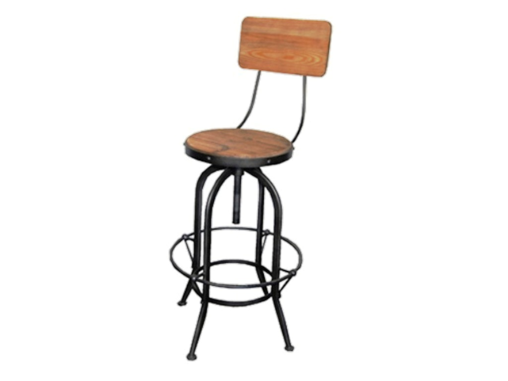 Kelly Industrial Stool w/ Back Bleached Old Pine Seat