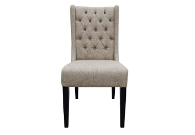 Lara Tufted Dining Chair In FAB002B Tan Fabric
