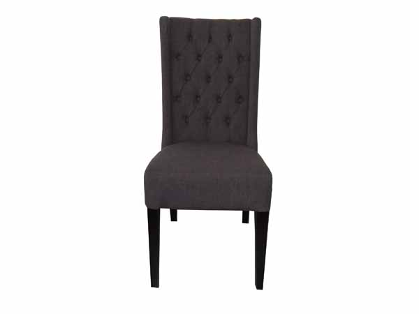Lara Tufted Dining Chair In FAB030B Dark Granite Fabric