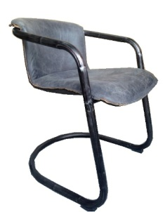 Normandy Arm Chair in Full Grain Antique Ebony Leather with Matt Iron Frame