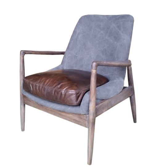 Westhill Club Chair In Ash & Gray Washed Canvas & Dark Master Leather