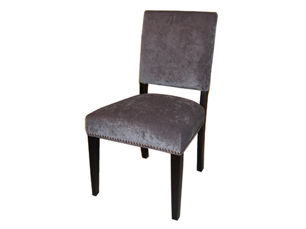 Tiffany Dining Chair In Charcoal Microfiber with Brass Nails