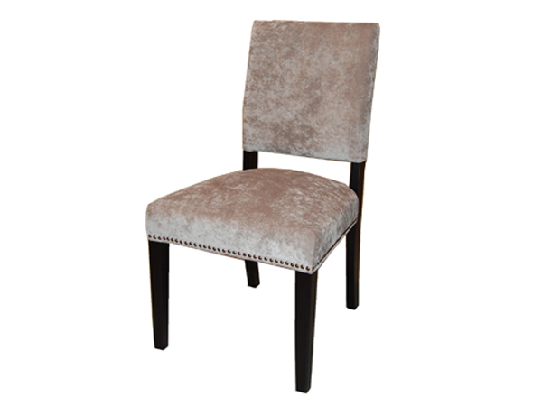 Tiffany Dining Chair In Platinum Microfiber with Brass Nails