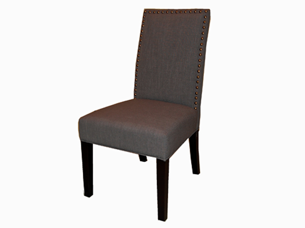 William Dining Chair In FAB168-11 Dark Charcoal Fabric with Brass Nails
