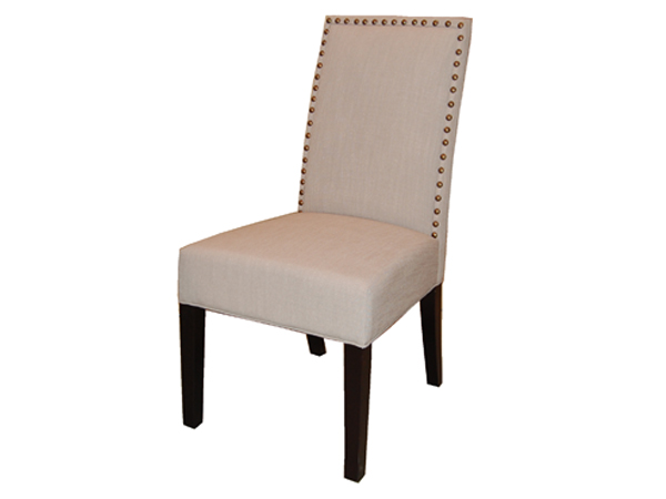 William Dining Chair In FAB168-3 Light Grey Fabric with Brass Nails