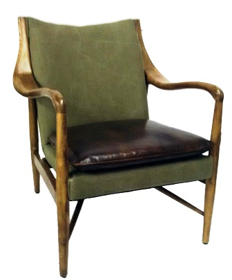Westhill Club Chair In Ash & Green Washed Canvas & Antique Master Leather