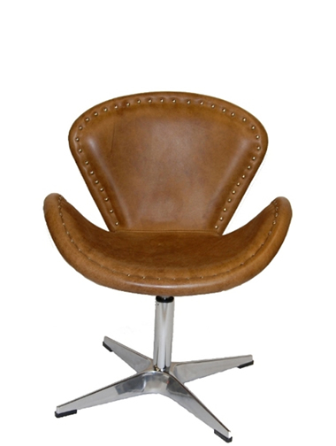 Abby Swivel Chair  In Whiskey Top Grain  Leather