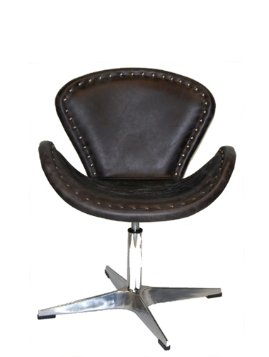 Abby Swivel Chair  In Slate Top Grain  Leather