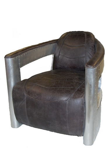 Aircraft Chair In Top Grain Slate Leather