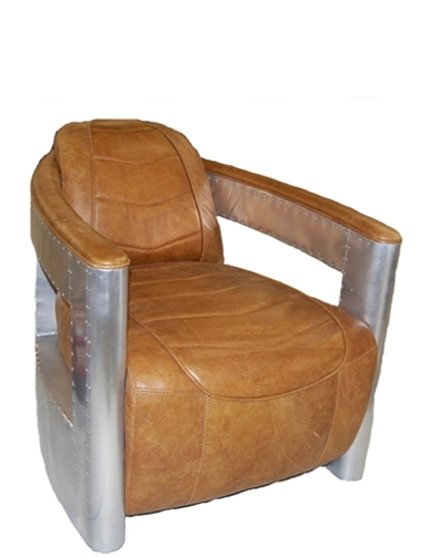 Aircraft Chair In Top Grain Whiskey Leather