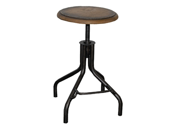 Westport Adjustable Industrial Round Stool  With Vintage Oak Seat