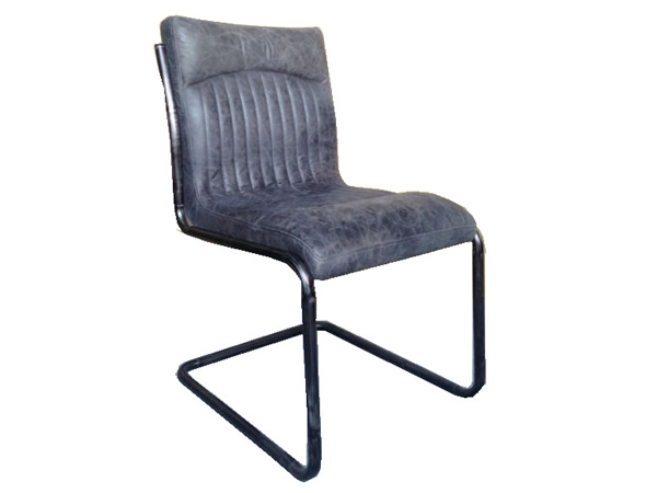 Monaco Dining Chair In Full Grain Antique Ebony Leather with Matt Iron Frame